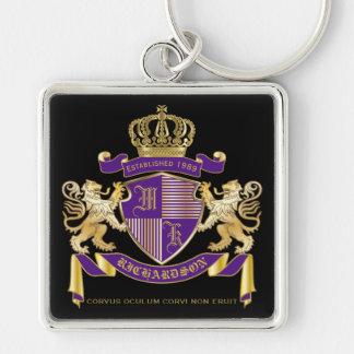 Chaveiro Protetor dourado do leão do emblema do monograma