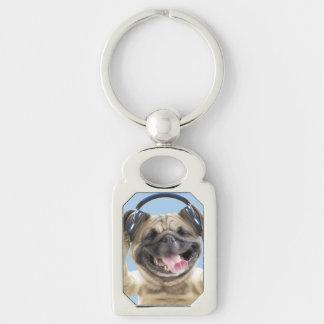 Chaveiro Pug com fones de ouvido, pug, animal de estimação