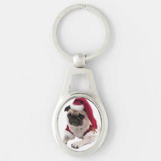 Chaveiro Pug do Natal - cão de Papai Noel - persiga claus