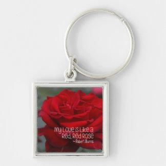 Chaveiro quadrado pequeno do metal minha rosa