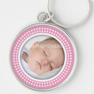 Chaveiro Quadro cor-de-rosa da foto do bebé - o branco