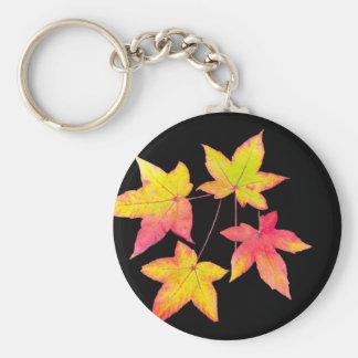 Chaveiro Quatro folhas de outono coloridas no fundo preto