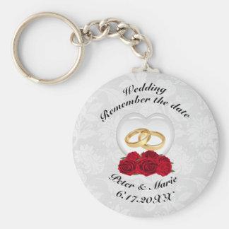 Chaveiro Recorde os corações e os rosas do casamento da