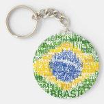 Chaveiro redondo da bandeira do texto de Brasil