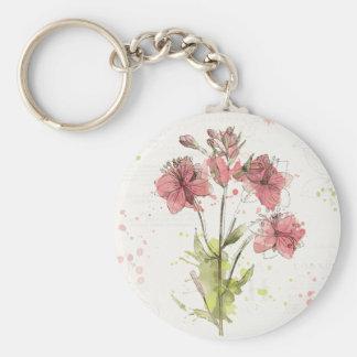 Chaveiro Respingo cor-de-rosa escuro floral