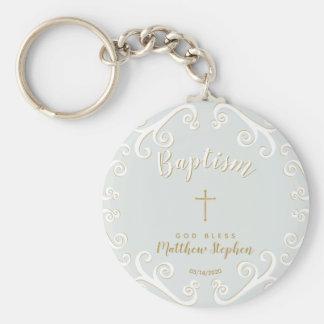 Chaveiro Rolos do baptismo no azul e no ouro de pó