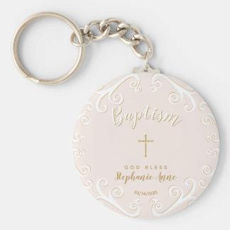 Chaveiro Rolos do baptismo no rosa e no ouro