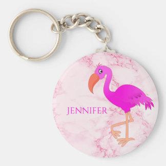 Chaveiro Rosa e flamingo tropical feminino no mármore