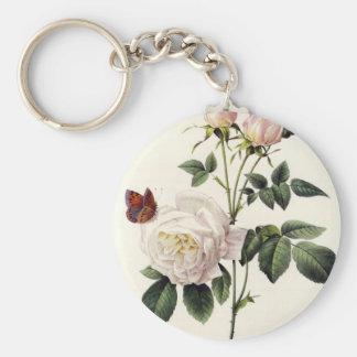 Chaveiro rosas brancos e borboletas, Pierre Joseph Redouté
