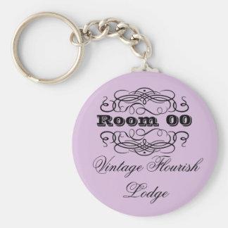 Chaveiro Roxo da sala de hotel da tipografia do vintage
