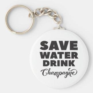 Chaveiro Salvar a água, bebida Champagne