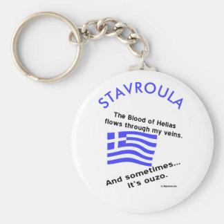 Chaveiro Sangue grego de Hélade da bandeira e Ouzo e nome