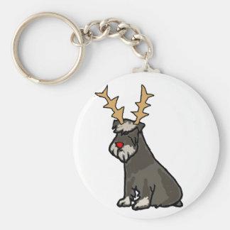 Chaveiro Schnauzer engraçado com Natal dos Antlers da rena