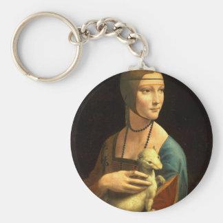 Chaveiro Senhora da pintura de Da Vinci original com um