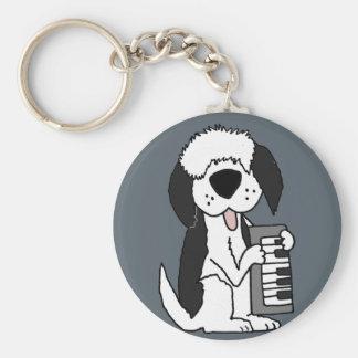 Chaveiro Sheepdog inglês velho engraçado que joga o teclado