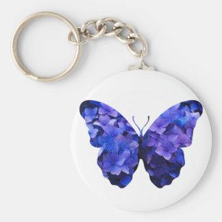 Chaveiro Silhueta roxa da borboleta da flor
