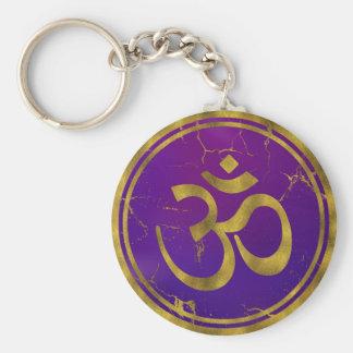 Chaveiro Símbolo de OM do ouro - Aum, Omkara no roxo/índigo
