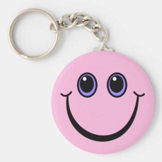 Chaveiro Smiley face cor-de-rosa feliz