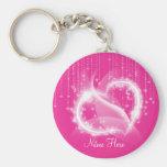 Chaveiro Sparkly cor-de-rosa dos corações