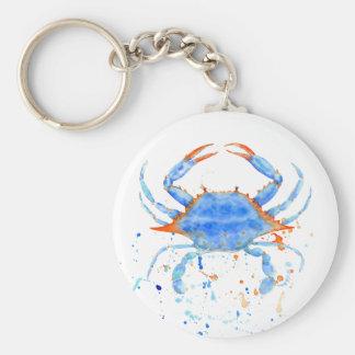 Chaveiro Splatter da pintura do caranguejo azul da aguarela