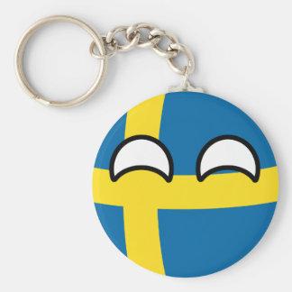 Chaveiro Suecia Geeky de tensão engraçada Countryball