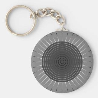 Chaveiro Sunburst geométrico moderno - cinza escuro do