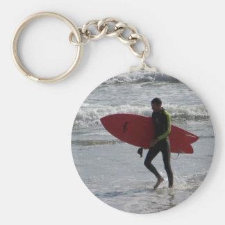 Chaveiro Surfista com o conselho de surf com ondas