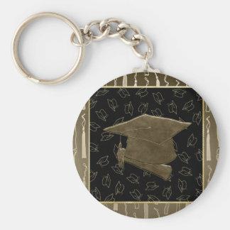 Chaveiro Tapete do rato do boné de formatura e do diploma,