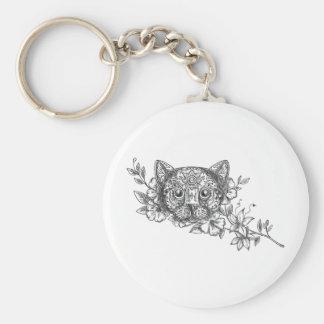 Chaveiro Tatuagem principal da flor do jasmim do gato