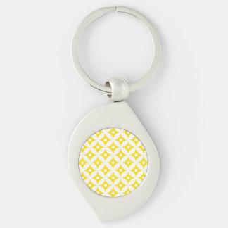 Chaveiro Teste padrão de bolinhas amarelo e branco moderno