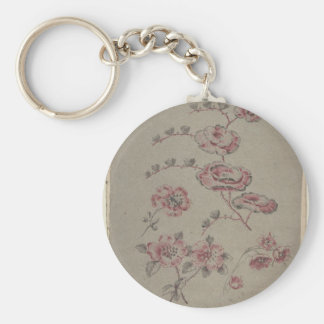 Chaveiro Teste padrão de flor cor-de-rosa - francês