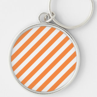 Chaveiro Teste padrão diagonal alaranjado e branco das