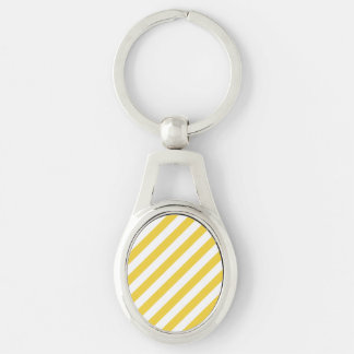 Chaveiro Teste padrão diagonal amarelo e branco das listras