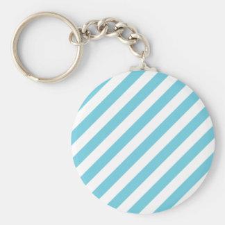 Chaveiro Teste padrão diagonal azul e branco das listras