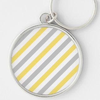 Chaveiro Teste padrão diagonal cinzento e amarelo das