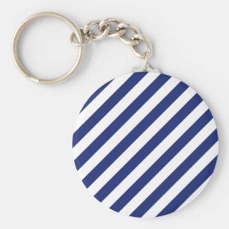 Chaveiro Teste padrão diagonal do azul marinho e o branco