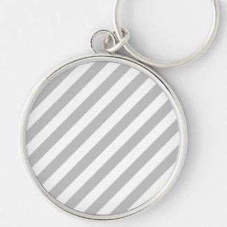 Chaveiro Teste padrão diagonal do cinza e o branco das