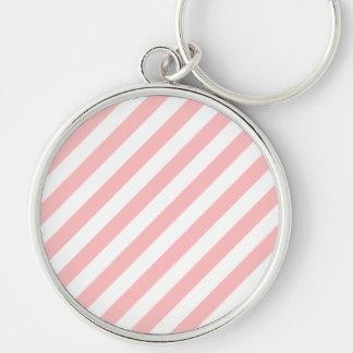 Chaveiro Teste padrão diagonal do rosa e o branco das
