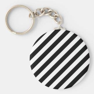 Chaveiro Teste padrão diagonal preto e branco das listras