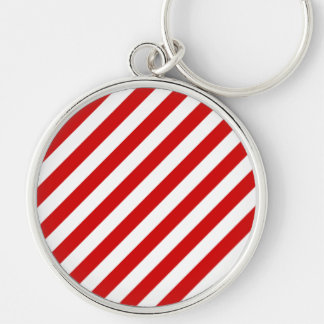 Chaveiro Teste padrão diagonal vermelho e branco das