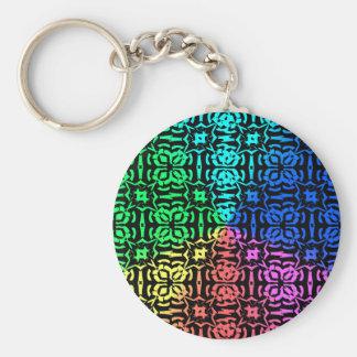 Chaveiro Teste padrão e formas coloridos rústicos