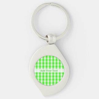 Chaveiro Teste padrão verde de néon do guingão por Shirley