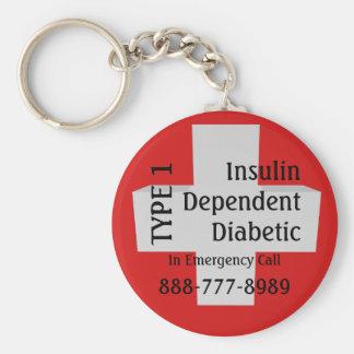 Chaveiro TIPO dependente da insulina - 1 alerta do diabetes