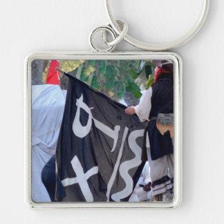 Chaveiro tomada abaixo da imagem do poster da bandeira de
