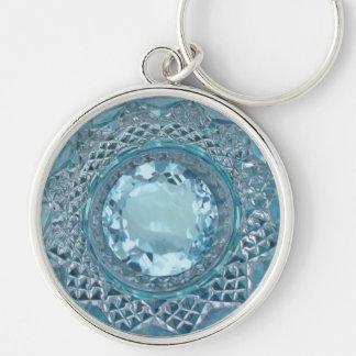Chaveiro Topázio e vidro de corte azuis