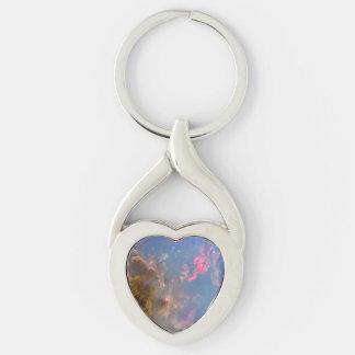 Chaveiro torcido Opal do metal do coração