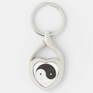 Chaveiro torcido Yang do coração de Yin do metal