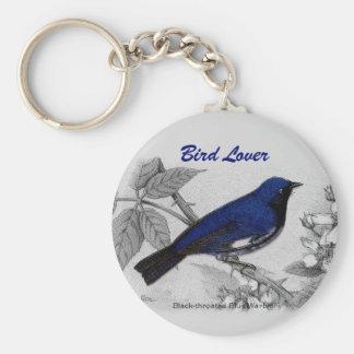 Chaveiro Toutinegra azul Throated preta customizável