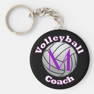 Chaveiro Treinador do voleibol com inicial roxa