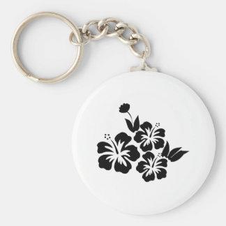 Chaveiro Três flores tropicais do hibiscus preto